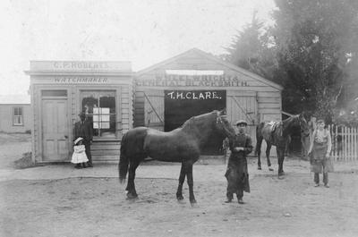 Shops, C P Roberts Watchmaker, Thomas Henry Clare Blacksmith, Kurow