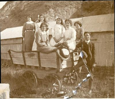 Man with women in a railway cart