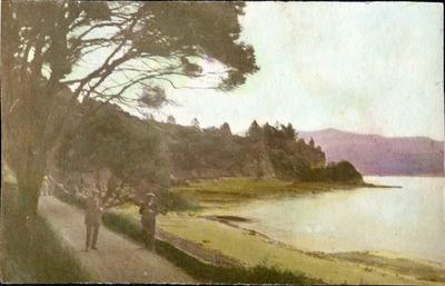 Men beside a bay