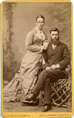 An unidentified young man and woman