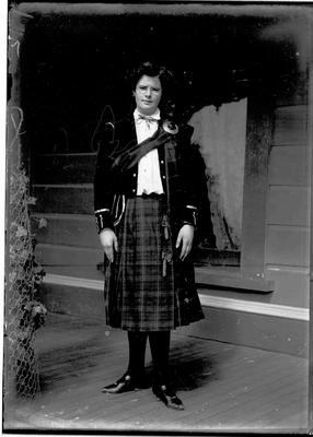 Unidentified female wearing Scottish Regalia, c.1910.