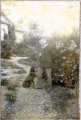 Frederick Bicknell and dog. Surrey Lodge, Avon Street Oamaru