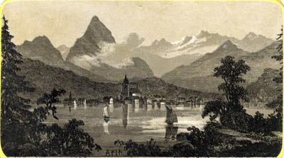 Arth. Mountain and lake scene, Switzerland