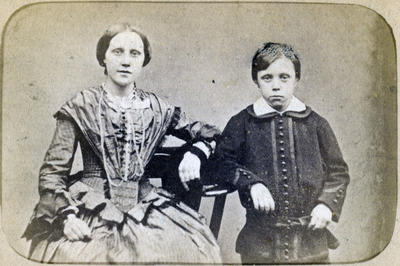 Unidentified young woman and boy
