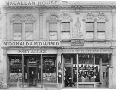 Macallum House. McDonald & McDiarmid/John Allen Boot & Shoe Manufacturer and Glasgow Clothing House.