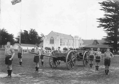 Mounted gun drill on the Backfield of Waitaki Boys High School