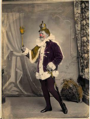 A man in a jester's style costume.