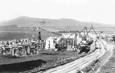 Oamaru stone being loaded at One Tree Farm, Totara