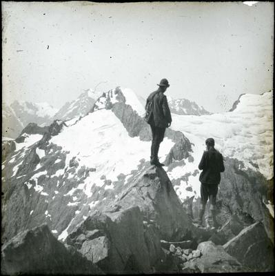 William Grave and Arthur Talbot on a ridge above the south branch of the Cleddau River