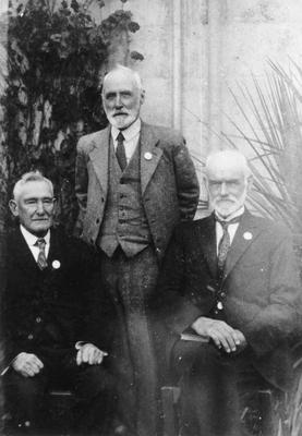 """L to R: James Wansborough, W H Ferens, George L Grenfell. """"The three eldest sons of the first Methodist families of North Otago in the 60s. Taken at the 70th anniversary of Wesley Church""""."""