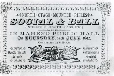 North Otago Mounted Rifles Social and Ball, advertisement.