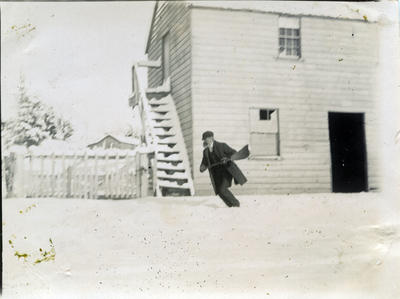Man in the snow at Ngapara.