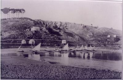 Boats on the beach at Moeraki.