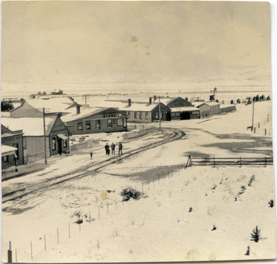 View from a hill of Ranfurly under snow.