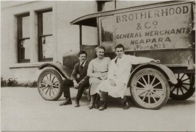 Ray McConnell, Mrs McConnell and Dave Bridgeman. Brotherhood & Company General Merchants Ngapara.