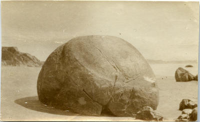 Boulder on Moeraki beach.