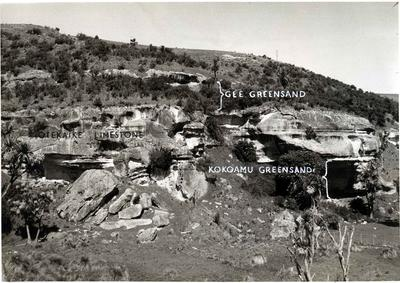 New Zealand Geological Survey photograph showing areas of limestone and greensand.