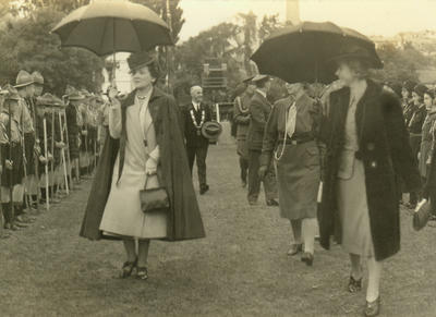 Betty Kirkness (Mayoress) inspecting Scouts and Guides with Lady Newall (left).