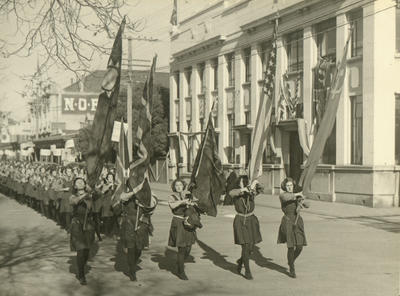 Children's Day.Pupils of Waitaki Girls' High School with flags of the Allied Nations.