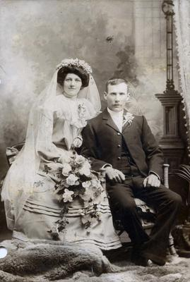 Wedding portrait of an unidentified couple.