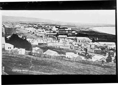 View of Oamaru from Wharfe Street; Jas. A. Brown Bookseller & Kodak Dealer; 1186P
