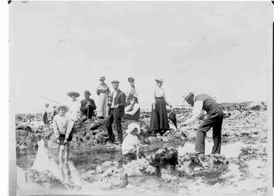 Fishing in Rock Pools, Cape Wanbrow, 1904.