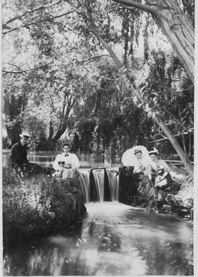 Three Ladies and a Gentleman at Chase's Cordial Factory Dam, Cross Street