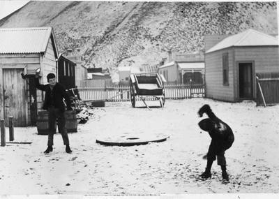 Snow fight, Kurow c.1900.