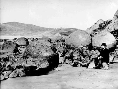 Captain T F Liddell. Moeraki boulders, North Otago