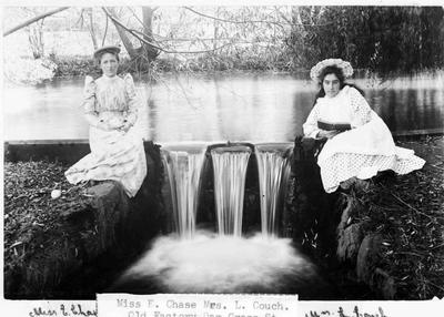 Miss E Chase (left) and Mrs L Couch (right) at Chase's Cordial Factory Dam, Cross Street, c.1894.