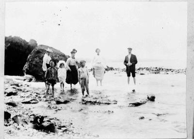 Family Group at Rock Pools, Cape Wanbrow, 1904.