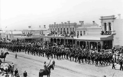 A Contingent of the Imperial Troops at Oamaru, 7 February 1901, during a goodwill tour of New Zealand.