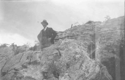 Gentleman standing amidst Rocks at Bortons.; 862P