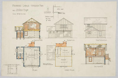 Proposed Garage Windsor Park for J.B. Reid Esq; Forrester, John Megget (b.1865, d.1965); FG1984.534.1