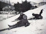 Neave family in the snow at Kurow