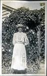 Woman wearing Phoenix Velvet Flour dress