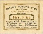 Phoenix Bowling Club certificate