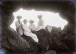 Unidentified women. Natural archway, Cape Wanbrow