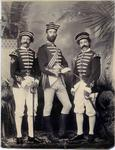 Three young people dressed in Victorian military uniform.